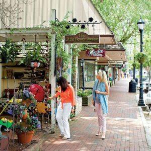 Women shopping on sidewalk