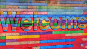 Colorful welcome sign