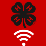 Icon showing 4-H Clover above Wifi signal logo- Broadband in 4-H Youth Development